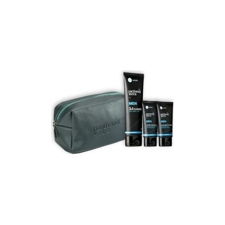Panthenol Extra Men Gift for Him Blue, Face & Eye Cream 75ml & After Shave Balm 75ml & Cleanser 3 in 1 200ml